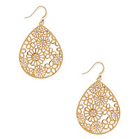 Filigree and Flower Drop Earrings