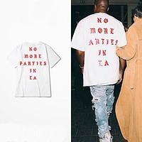S-XXXL Kanye West life of Pablo Losangeles LA yeezy season white t shirt men ,no more