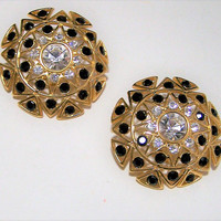 Monet Rhinestone Round Earrings, Large Statement Earrings, Black and Crystal Glass Stones, Gold Tone Clip On 118