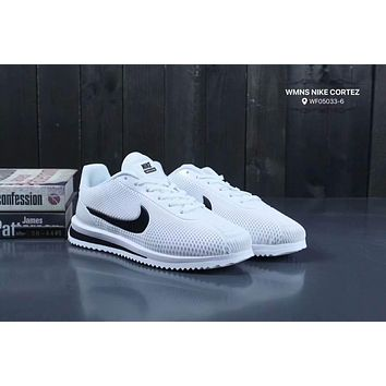 Nike Wmns Nike Cortez Forrest series of fashion fall and winter casual non-slip sports shoes t-shirt F-XYXY-FTQ White + black hook