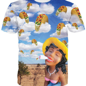 Taco Weed Dream T-Shirt a girl smoked a joint 3d funny t shirt summer fashion tees women tops short sleeve