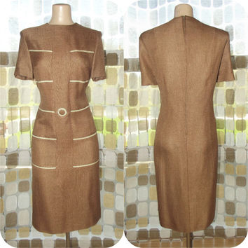 Vintage 60s Unique Rayon Linen MOD Sheath Dress Mocha & Tan XL 1X Plus Size Made in Italy