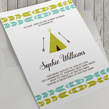 Printable Teepee Baby Shower Invitation, Tribal Baby Shower, Boho Baby Shower, Green and Blue, 5x7 Inch, Baby Boy Baby Shower, Digital