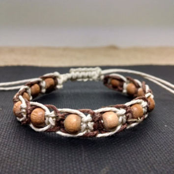 Brown and White Beaded Adjustable Hemp Bracelet