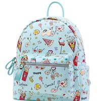Pastel Blue Pizza Backpack