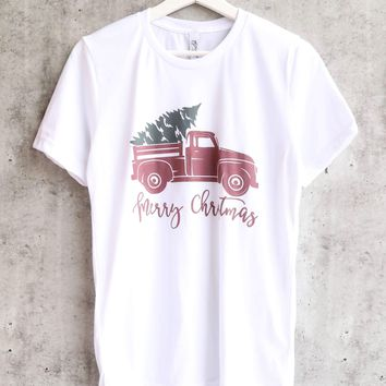 distracted - merry christmas with vintage truck unisex graphic tee - white