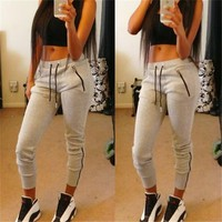 Trendy Grey Zipper Casual Sweat Pants
