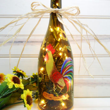 Rooster Chicken Lighted Wine Bottle Hand Painted 750 ml