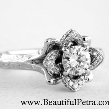 Engraved UNIQUE Flower Rose Lotus Blooming Diamond Engagement or Right Hand Ring - 1.50 carat - Fl09