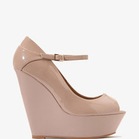 Patent Peep Toe Wedges