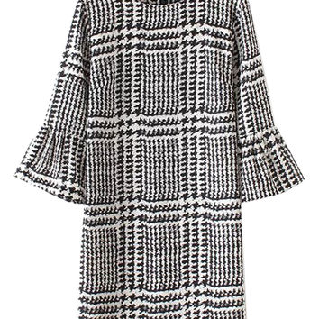 Monochrome Stripe Print Bell Sleeve Shift Dress