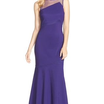 Women's JS Collections Asymmetrical Jersey Mermaid Gown,