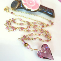 Antique rose pink Swarovski crystal heart pink tourmaline rosary gold necklace