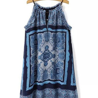 Blue and White Porcelain Print Halter A-line Mini Dress