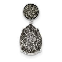 Sterling Silver and Gray Druzy Pendant Slide QP2436