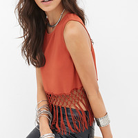 FOREVER 21 Fringed Woven Top Rust Large