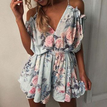 Light Blue Summer  V-neck Printed Harness Romper