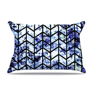 "Ebi Emporium ""Chevron Wonderland II"" Blue Black Pillow Case"