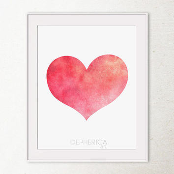 Coral Red Heart, Red Valentine's Day gift Valentines decor, Love art Printable wall art print Love valentine red decor, Love heart art print