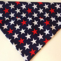 Patriotic Red, White, and Blue Stars Dog Bandana - Slides Over Collar