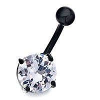 Stainless Steel Black Base With April Birthstone Clear Crystal Round Navel Rings, Black Friday Body jewelry | Pugster.com