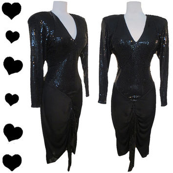 Dress Vintage 80s Black SEQUIN Cocktail Party Prom Dress S M Glam Draped Swag Ruched