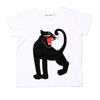Mini Rodini Panther Organic Cotton Blend Tee Shirt in White - only sz 7-9 left