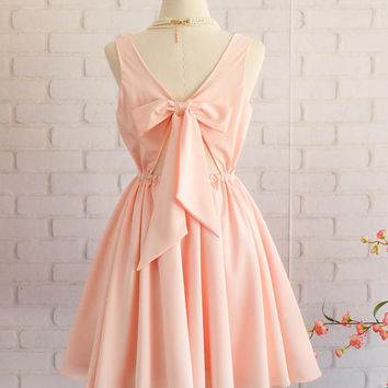 Pink blush dress Pink dress backless dress Pink party dress Pink prom dress Pink cocktail dress bow back dress Pink  bridesmaid dresses