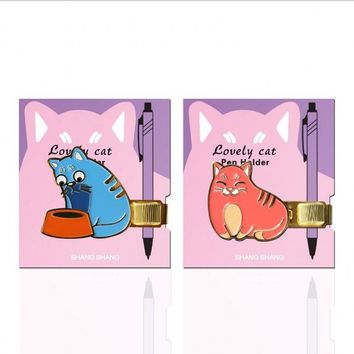 1 Pcs/Lot Creative Exquisite Cute Little Lazy Cat Metal Pen Clip Series Hand Account Bookmarks Stationery Office Supplies 6197