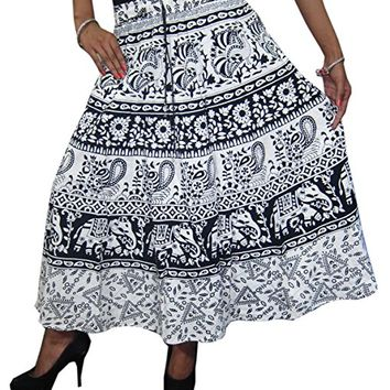 Mogul Womens Skirts White Animal Print Boho Festival Indian Skirt