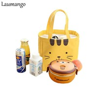 Laumango Cute Cartoon portable Bento bag Food Picnic Lunch Bag cartoon ice bag for Women kids Men Cooler Lunch Box Bag Tote