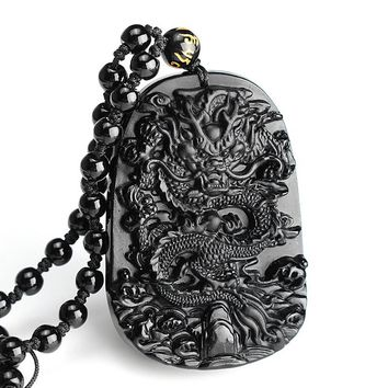 Hot Sale Natural Obsidian Stone Carved Chinese Dragon Pendant With Beads Necklace Men Luck Jewelry Gemstone Fengshui Crafts Gift
