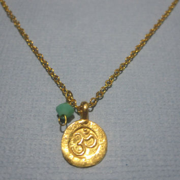 Tiny Sanskrit Om ohm  Necklace with swarovski by MarisaLeeDesigns