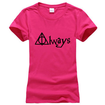 Harry Potter Always Hallows Print Women short tshirt