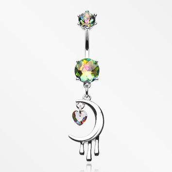 Dripping Crescent Moon Sparkle Heart Belly Button Ring
