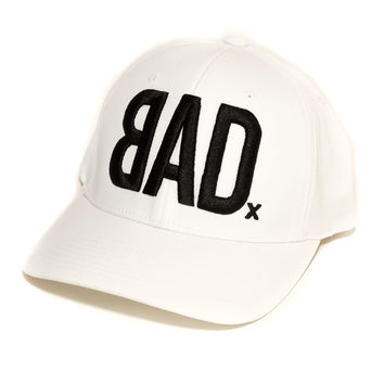 BAD Hat | White with Black Embroidery | Flexfit