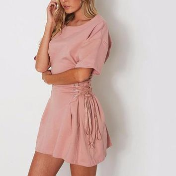 Corset Waisted T-Shirt Dress