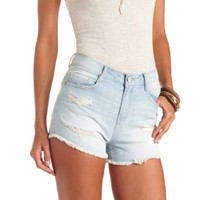 "Refuge ""Hi-Rise Cheeky"" High-Waisted Denim Shorts - Lt Wash Denim"