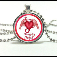 Naughty Angel Heart Necklace and silver pendant set -  jewelry