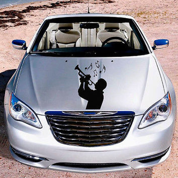 Car Hood Vinyl Decal Graphics Stickers Art Mural Music Man with Saxophone KJ224