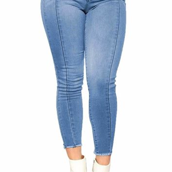 Light Blue Wash Triple Seam Detail Ankle Jeans