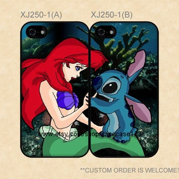 XJ250-1 Disney Little Mermaid Ariel and Stitch Couple Case, iPhone 4/4s/5/5s/5C, Samsung Galaxy S2/S3/S4/S5/Note 2/3, Htc One S/X/M7