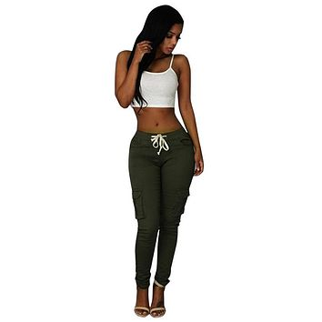 Fashion Sexy Women Drawstring Cargo Pants Skinny Trousers Stretch Slim Pencil Pants Middle Waist Solid New Pockets Female Augu17