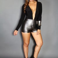Dual Fabric Charcoal Faux Leather W/ Black Deep V-Neck Long Sleeves Sexy Party Romper