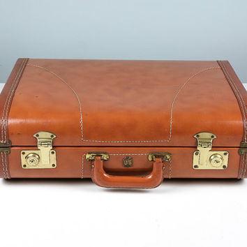 Vintage Suitcase, Brown Suitcase, US Trunk Co Suitcase,1950s Suitcase, Stackable Storage, Suitcase Photo Prop, Vintage Luggage, Mens Luggage