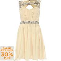 Cream Little Mistress cut out diamante dress