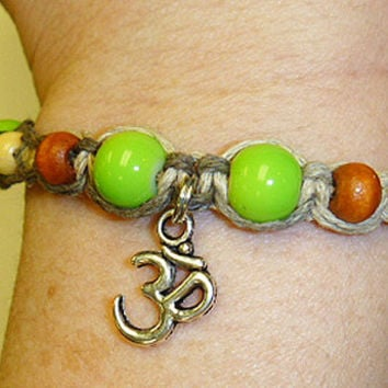 Earthy Greens Om Hemp Bracelet womens hippie handmade jewelry Ohm macrame