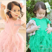 Girls Multilayer tutu Dress New Summer Short Sleeve Children Tiered Dress Kids' Clothes Baby Wears