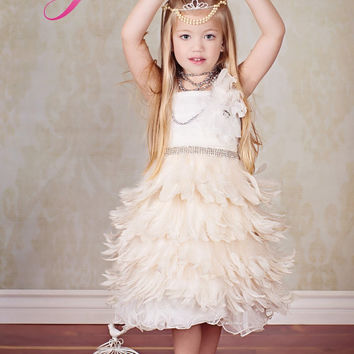 Ethereal Elegance Girls Feather Apron Dress