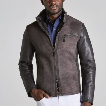 Italian Suede and Leather Jacket with Shearling